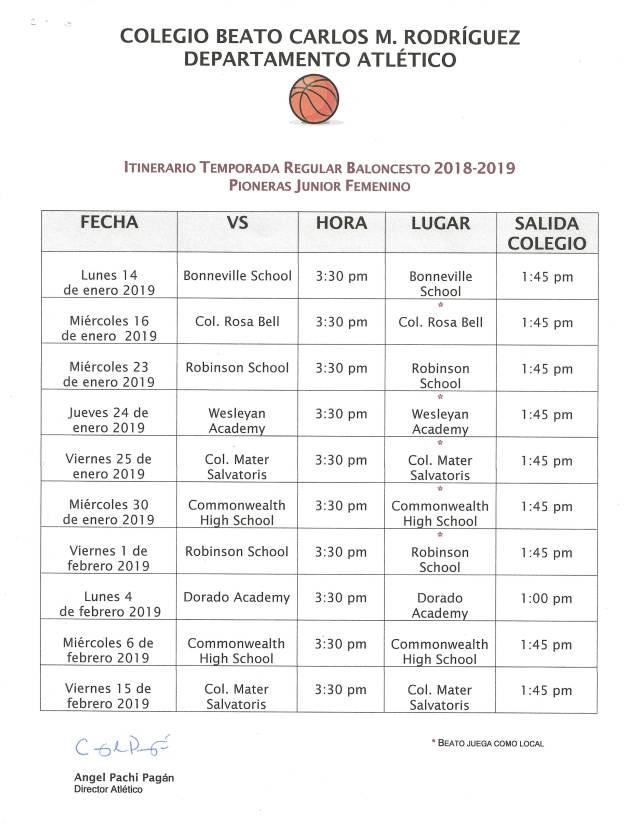 2018-2019 itinerario Baloncesto junior femenino